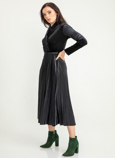 Foremia Piliseli Ceket Yaka Kadife Elbise Siyah